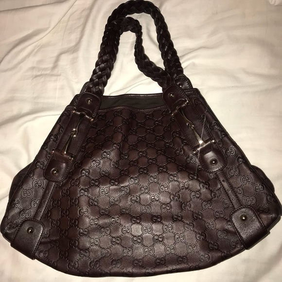 GUCCI BROWN GUCCISSIMA LEATHER PELHAM LARGE HOBO